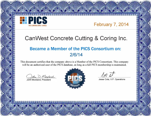 Canwest PICS Certificate 2014